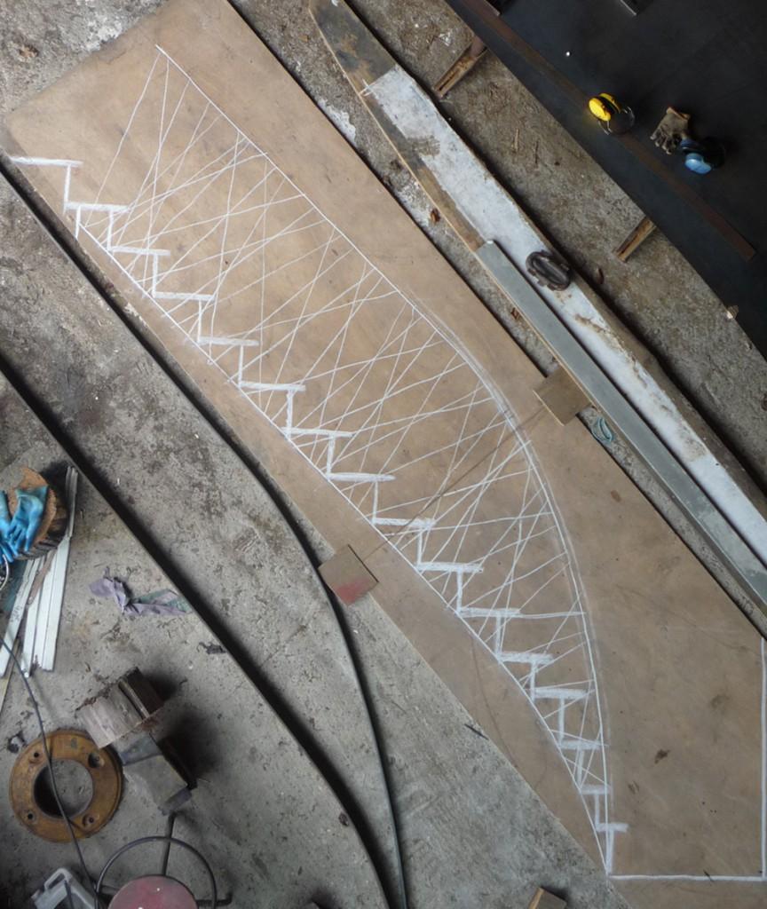Escalier en frêne et acier